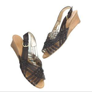 Banana Republic Brown Leather Wedge Sandal Buckle
